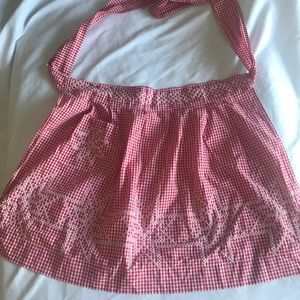Vintage gingham star cross stitch apron
